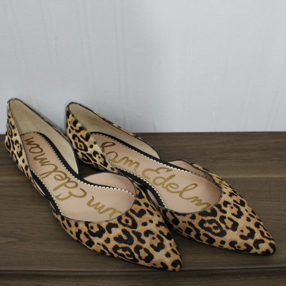 857e952999087 Sam Edelman Cheetah Calf Hair Pointed Toe Flats. M 5b8b6241df03073414a14acb